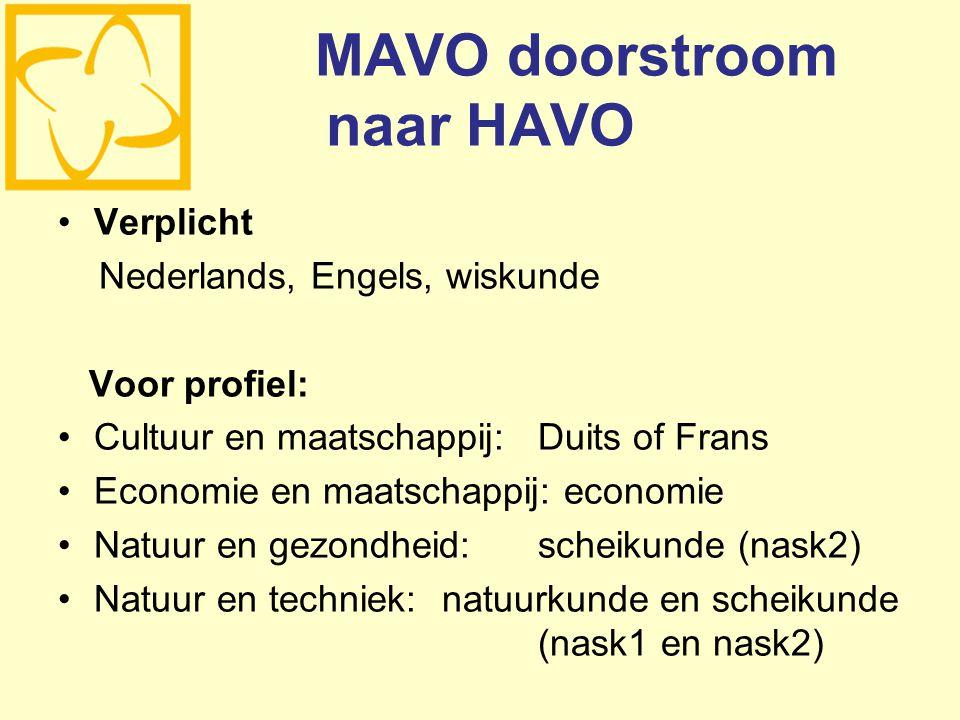 MAVO doorstroom naar HAVO Verplicht Nederlands, Engels, wiskunde Voor profiel: Cultuur en maatschappij:Duits of Frans Economie en maatschappij: economie Natuur en gezondheid:scheikunde (nask2) Natuur en techniek:natuurkunde en scheikunde (nask1 en nask2)
