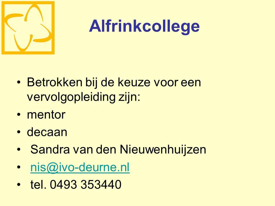 Alfrinkcollege Betrokken bij de keuze voor een vervolgopleiding zijn: mentor decaan Sandra van den Nieuwenhuijzen nis@ivo-deurne.nl tel. 0493 353440