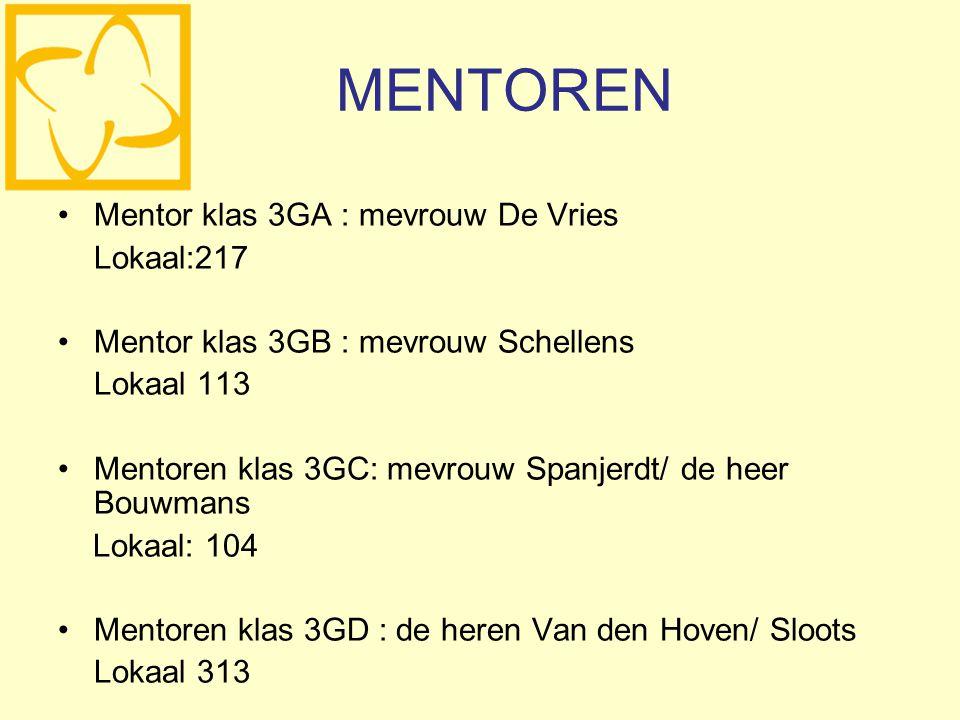 MENTOREN Mentor klas 3GA : mevrouw De Vries Lokaal:217 Mentor klas 3GB : mevrouw Schellens Lokaal 113 Mentoren klas 3GC: mevrouw Spanjerdt/ de heer Bouwmans Lokaal: 104 Mentoren klas 3GD : de heren Van den Hoven/ Sloots Lokaal 313