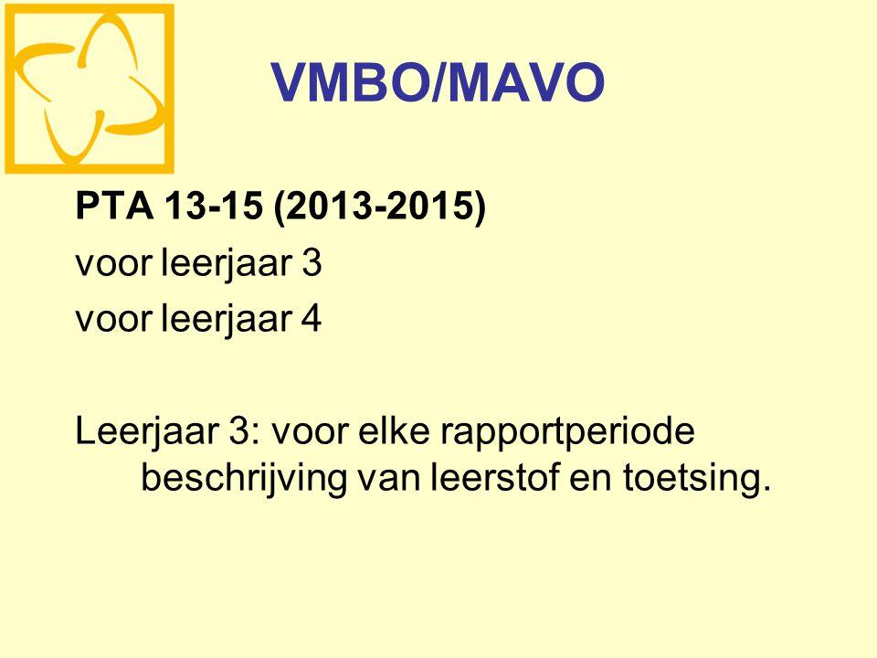 VMBO/MAVO PTA 13-15 (2013-2015) voor leerjaar 3 voor leerjaar 4 Leerjaar 3: voor elke rapportperiode beschrijving van leerstof en toetsing.