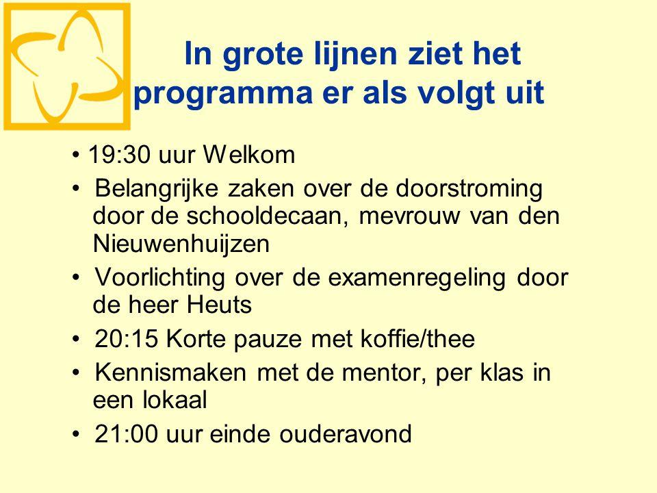 In grote lijnen ziet het programma er als volgt uit 19:30 uur Welkom Belangrijke zaken over de doorstroming door de schooldecaan, mevrouw van den Nieu
