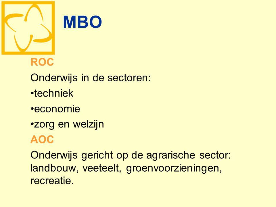 MBO ROC Onderwijs in de sectoren: techniek economie zorg en welzijn AOC Onderwijs gericht op de agrarische sector: landbouw, veeteelt, groenvoorzienin
