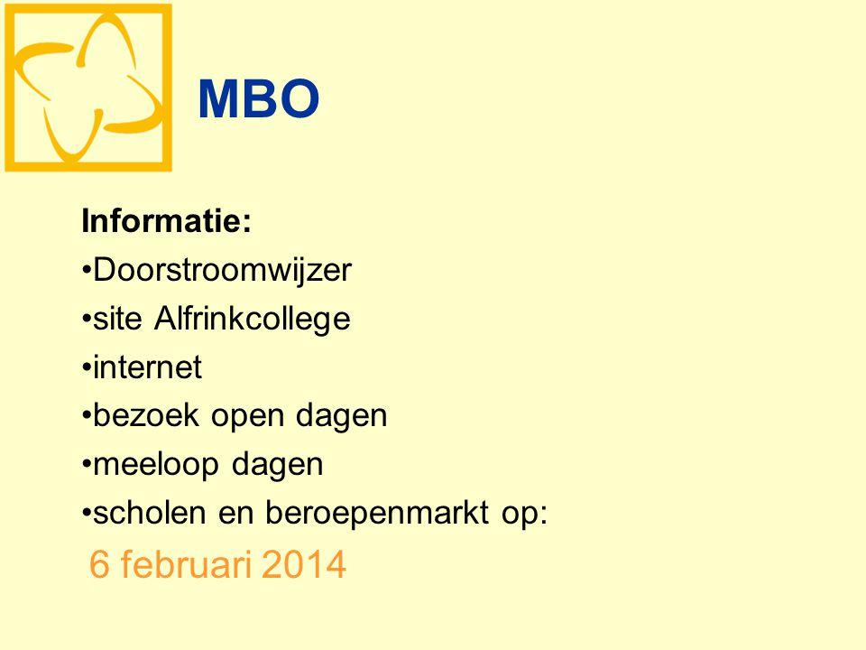 MBO Informatie: Doorstroomwijzer site Alfrinkcollege internet bezoek open dagen meeloop dagen scholen en beroepenmarkt op: 6 februari 2014