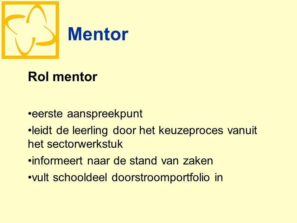 Mentor Rol mentor eerste aanspreekpunt leidt de leerling door het keuzeproces vanuit het sectorwerkstuk informeert naar de stand van zaken vult school