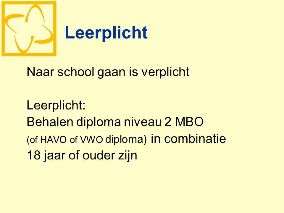 Leerplicht Naar school gaan is verplicht Leerplicht: Behalen diploma niveau 2 MBO (of HAVO of VWO diploma) in combinatie 18 jaar of ouder zijn