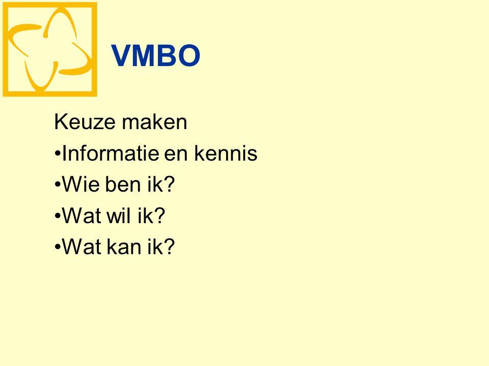VMBO Keuze maken Informatie en kennis Wie ben ik? Wat wil ik? Wat kan ik?