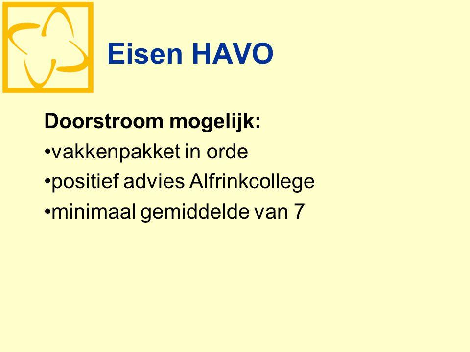 Eisen HAVO Doorstroom mogelijk: vakkenpakket in orde positief advies Alfrinkcollege minimaal gemiddelde van 7