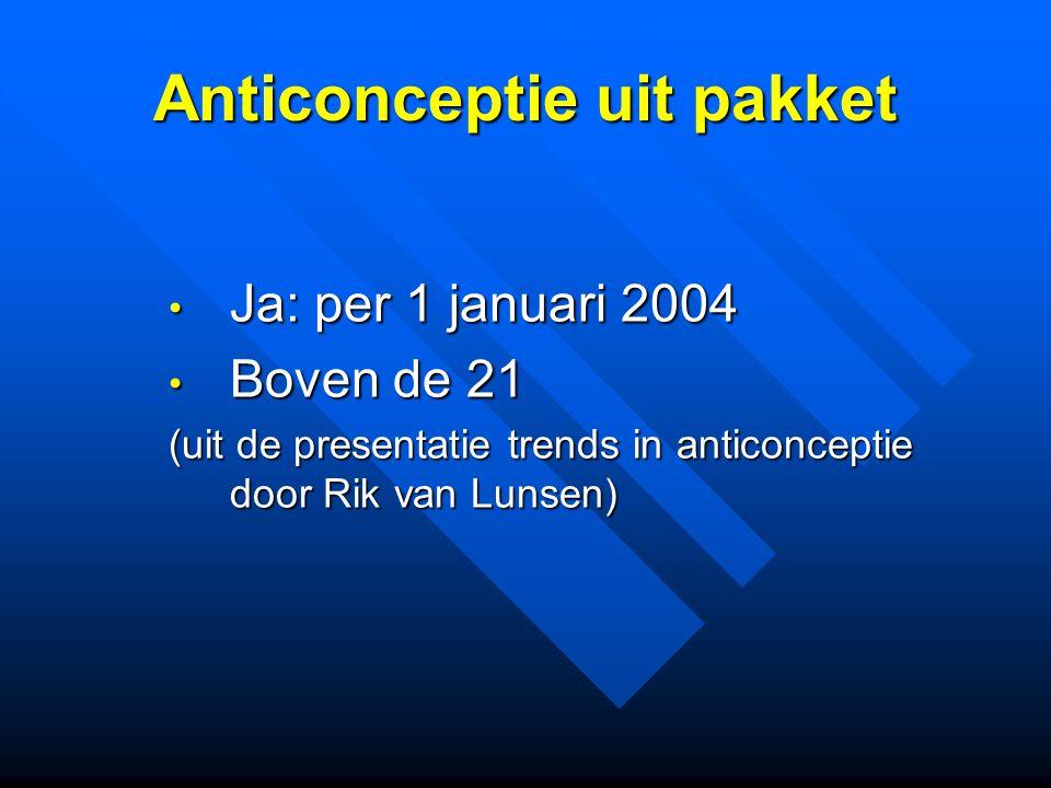 Anticonceptie uit pakket Ja: per 1 januari 2004 Ja: per 1 januari 2004 Boven de 21 Boven de 21 (uit de presentatie trends in anticonceptie door Rik van Lunsen)