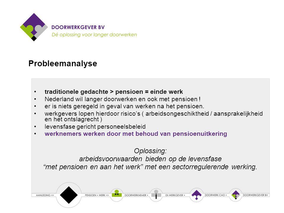 traditionele gedachte > pensioen = einde werk Nederland wil langer doorwerken en ook met pensioen .