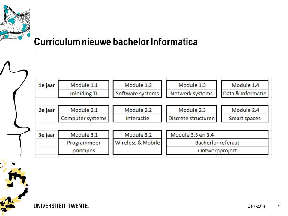 21-7-2014 4 Curriculum nieuwe bachelor Informatica