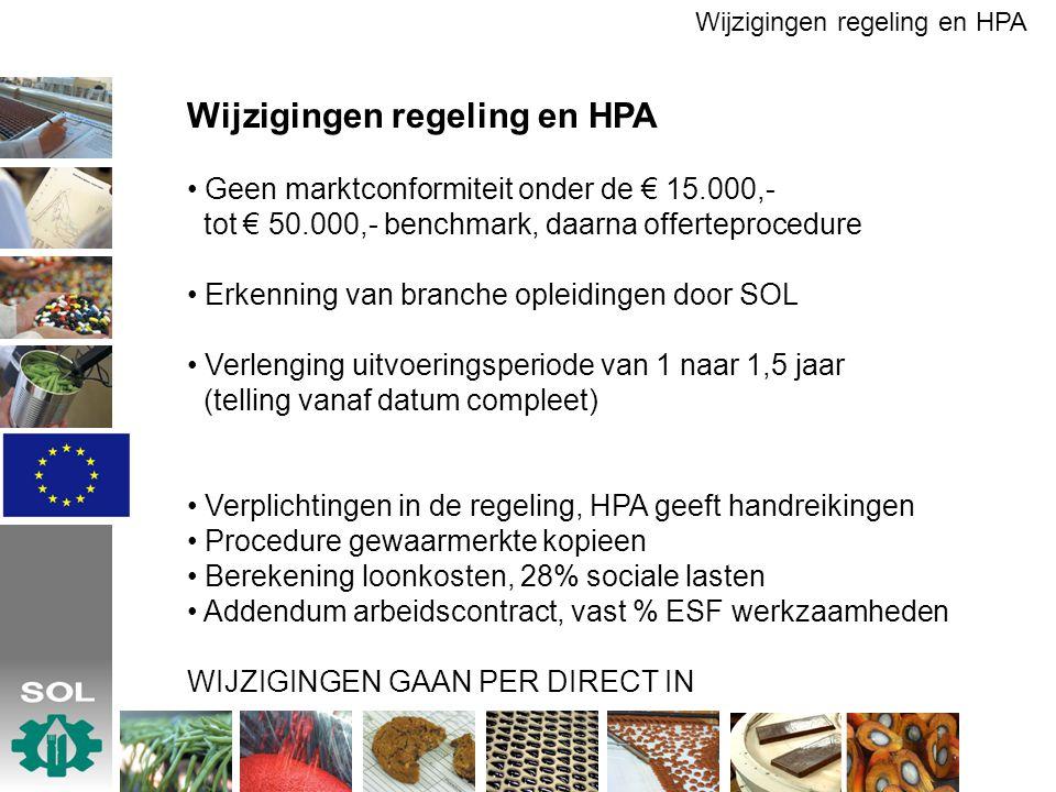 Wijzigingen regeling en HPA Geen marktconformiteit onder de € 15.000,- tot € 50.000,- benchmark, daarna offerteprocedure Erkenning van branche opleidi