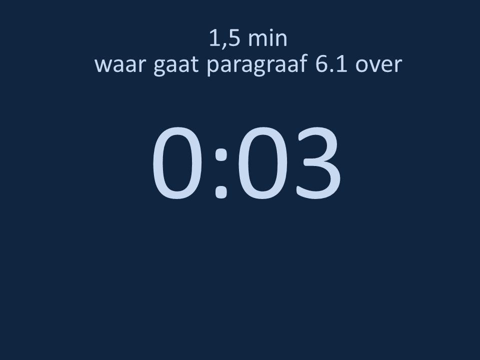 1,5 min waar gaat paragraaf 6.1 over 0:03