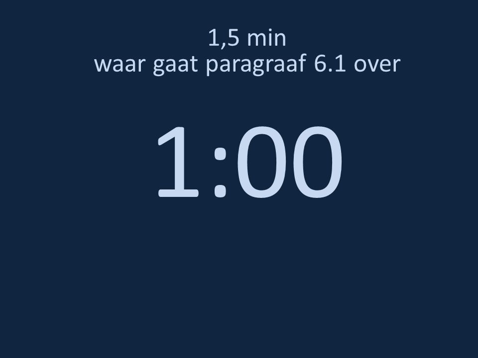 1,5 min waar gaat paragraaf 6.1 over 0:50