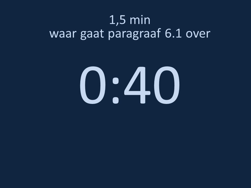 1,5 min waar gaat paragraaf 6.1 over 0:40