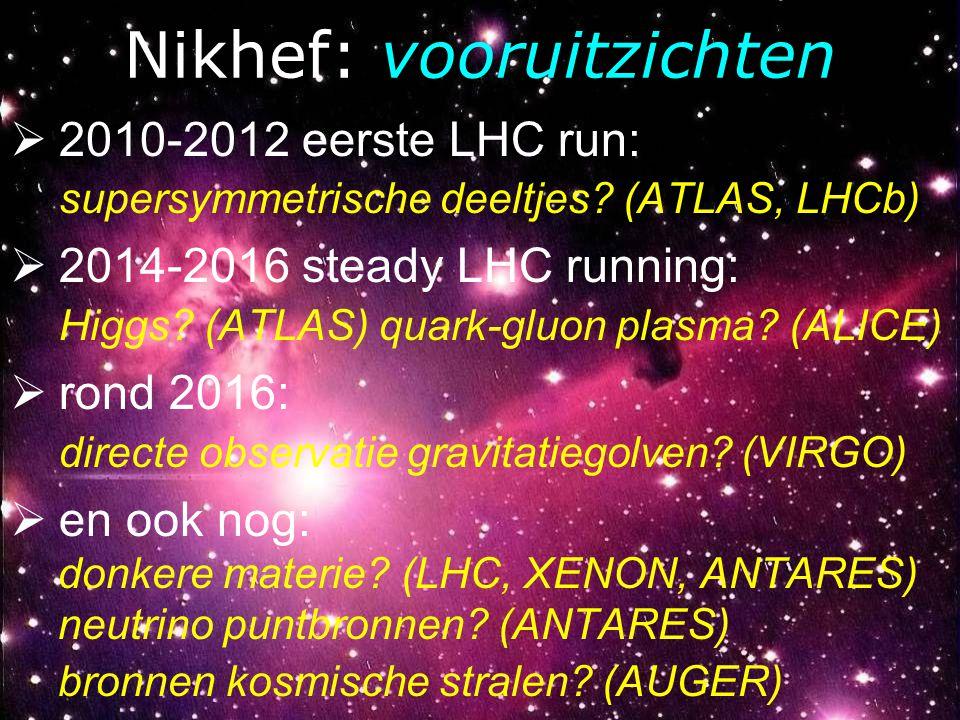 Nikhef: vooruitzichten  2010-2012 eerste LHC run: supersymmetrische deeltjes? (ATLAS, LHCb)  2014-2016 steady LHC running: Higgs? (ATLAS) quark-gluo