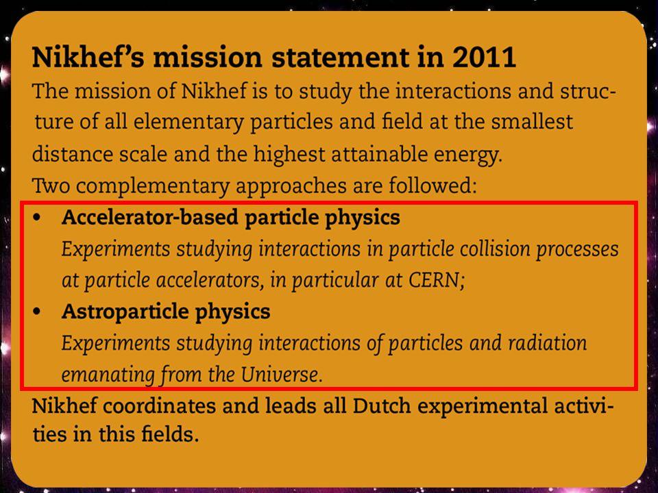 Nikhef: vooruitzichten  2010-2012 eerste LHC run: supersymmetrische deeltjes.