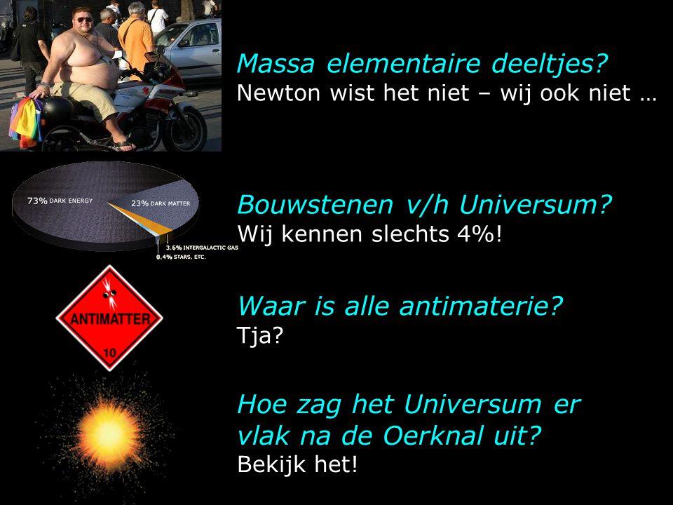 Massa elementaire deeltjes? Newton wist het niet – wij ook niet … Hoe zag het Universum er vlak na de Oerknal uit? Bekijk het! Bouwstenen v/h Universu