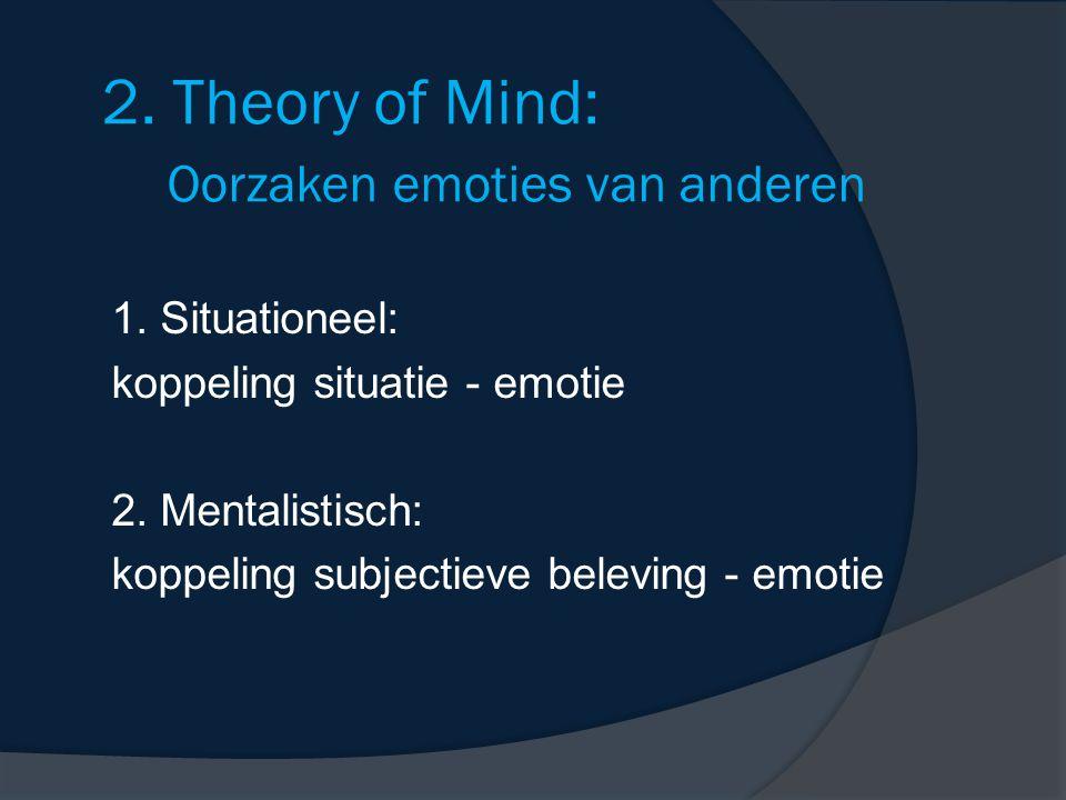 2. Theory of Mind: Oorzaken emoties van anderen 1. Situationeel: koppeling situatie - emotie 2. Mentalistisch: koppeling subjectieve beleving - emotie