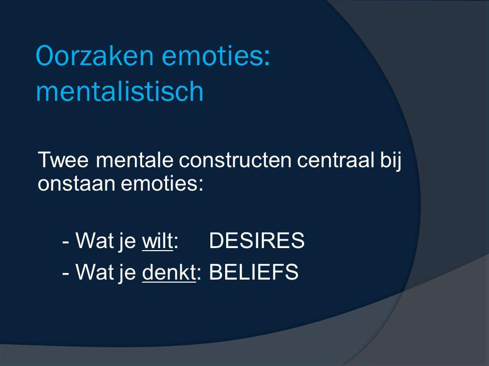 Oorzaken emoties: mentalistisch Twee mentale constructen centraal bij onstaan emoties: - Wat je wilt:DESIRES - Wat je denkt:BELIEFS