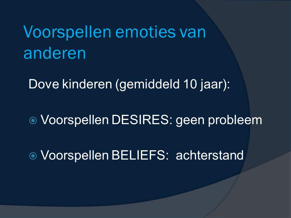 Voorspellen emoties van anderen Dove kinderen (gemiddeld 10 jaar):  Voorspellen DESIRES: geen probleem  Voorspellen BELIEFS: achterstand