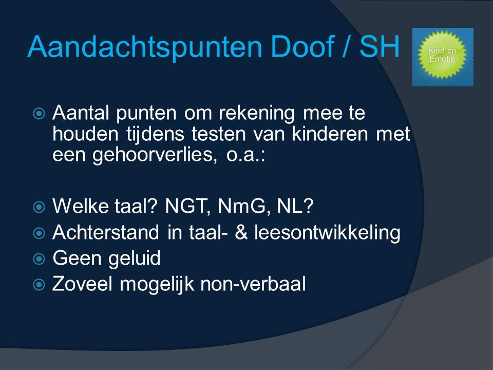 Aandachtspunten Doof / SH  Aantal punten om rekening mee te houden tijdens testen van kinderen met een gehoorverlies, o.a.:  Welke taal.