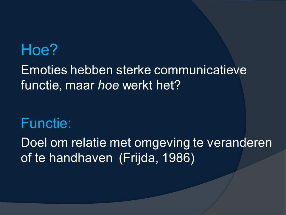 Hoe? Emoties hebben sterke communicatieve functie, maar hoe werkt het? Functie: Doel om relatie met omgeving te veranderen of te handhaven (Frijda, 19