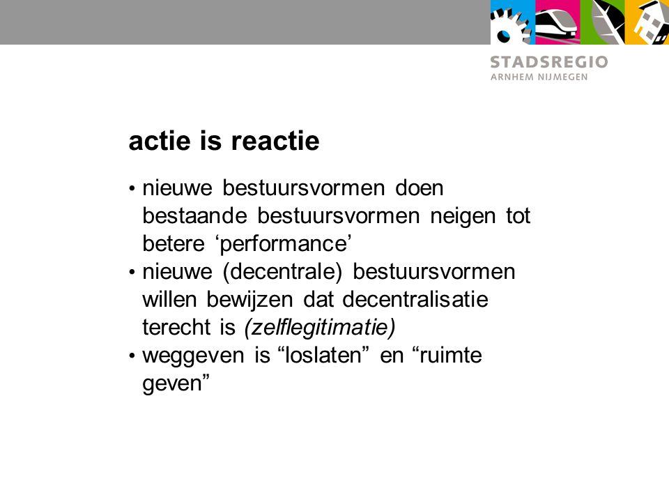 actie is reactie nieuwe bestuursvormen doen bestaande bestuursvormen neigen tot betere 'performance' nieuwe (decentrale) bestuursvormen willen bewijzen dat decentralisatie terecht is (zelflegitimatie) weggeven is loslaten en ruimte geven
