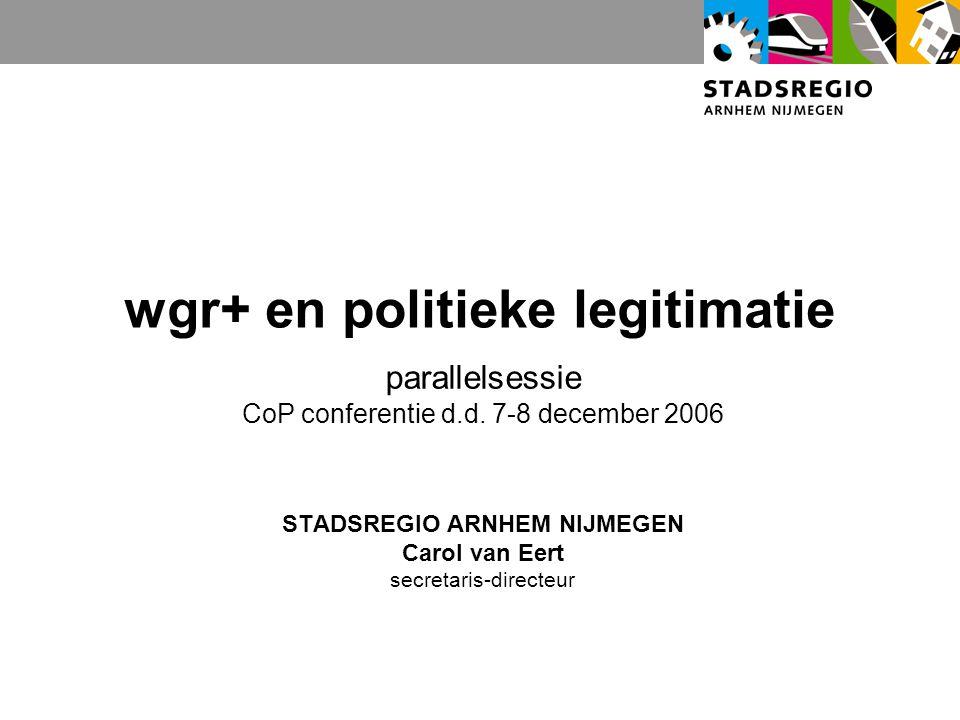 wgr+ en politieke legitimatie parallelsessie CoP conferentie d.d.
