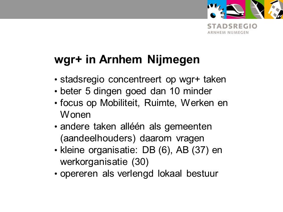 wgr+ in Arnhem Nijmegen stadsregio concentreert op wgr+ taken beter 5 dingen goed dan 10 minder focus op Mobiliteit, Ruimte, Werken en Wonen andere taken alléén als gemeenten (aandeelhouders) daarom vragen kleine organisatie: DB (6), AB (37) en werkorganisatie (30) opereren als verlengd lokaal bestuur