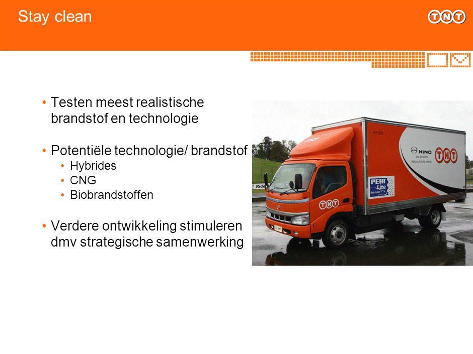 Stay clean Testen meest realistische brandstof en technologie Potentiële technologie/ brandstof Hybrides CNG Biobrandstoffen Verdere ontwikkeling stim