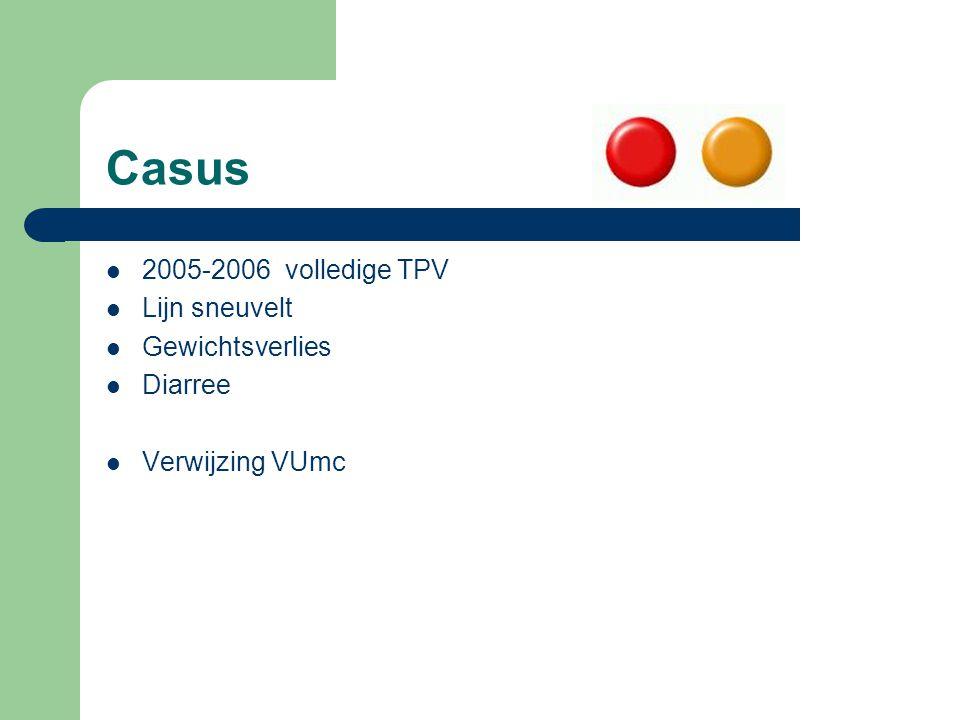 Casus 2005-2006 volledige TPV Lijn sneuvelt Gewichtsverlies Diarree Verwijzing VUmc