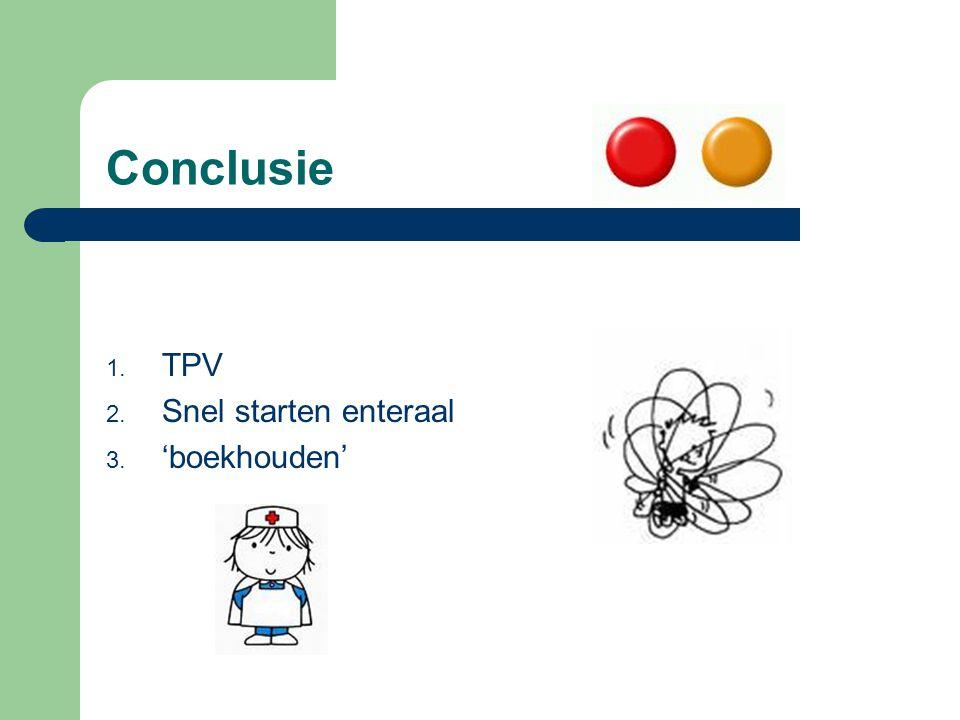 Conclusie 1. TPV 2. Snel starten enteraal 3. 'boekhouden'