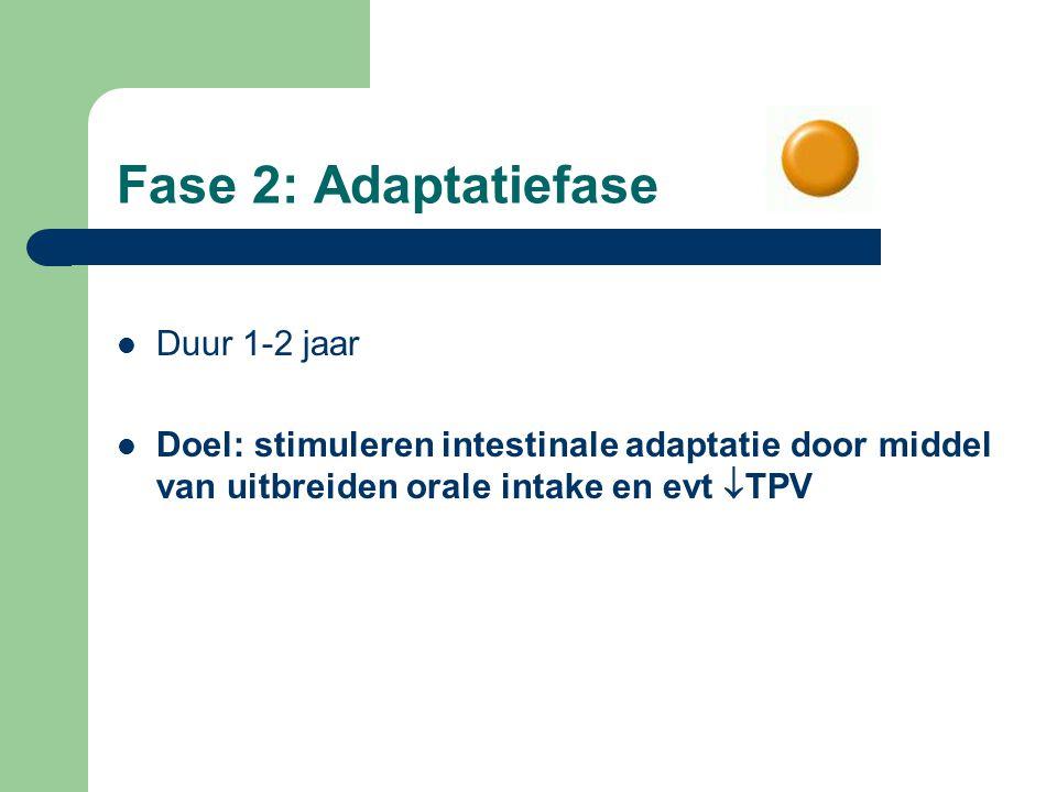 Fase 2: Adaptatiefase Duur 1-2 jaar Doel: stimuleren intestinale adaptatie door middel van uitbreiden orale intake en evt  TPV