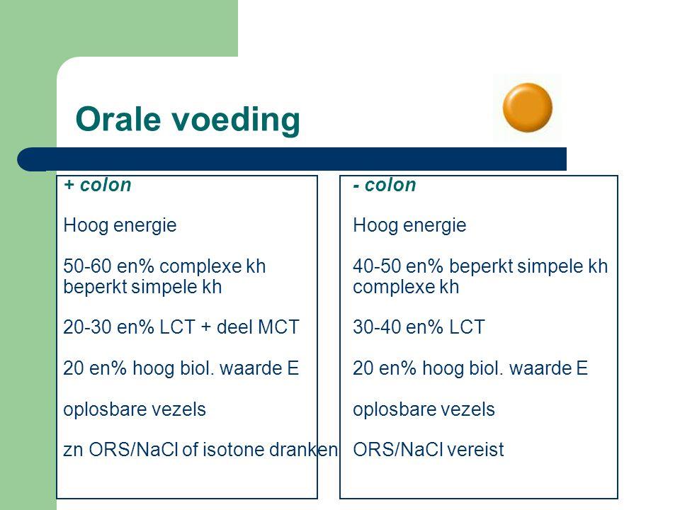 Orale voeding + colon Hoog energie 50-60 en% complexe kh beperkt simpele kh 20-30 en% LCT + deel MCT 20 en% hoog biol. waarde E oplosbare vezels zn OR