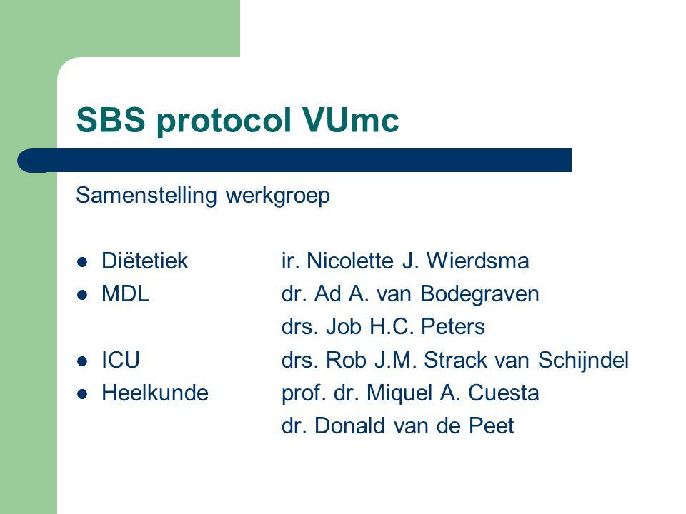 SBS protocol VUmc Samenstelling werkgroep Diëtetiekir. Nicolette J. Wierdsma MDLdr. Ad A. van Bodegraven drs. Job H.C. Peters ICUdrs. Rob J.M. Strack