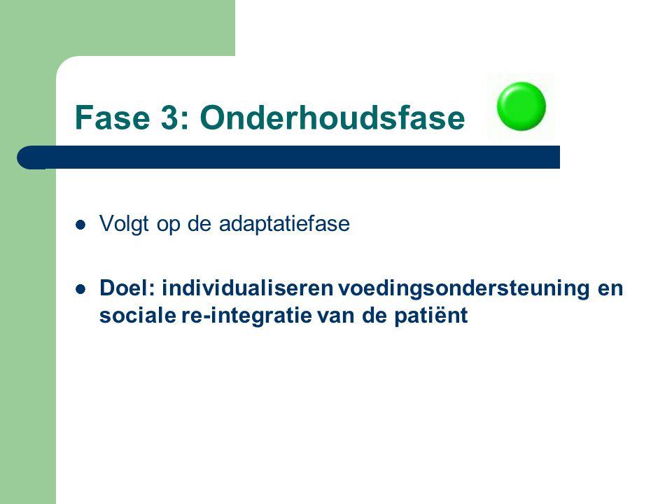 Fase 3: Onderhoudsfase Volgt op de adaptatiefase Doel: individualiseren voedingsondersteuning en sociale re-integratie van de patiënt