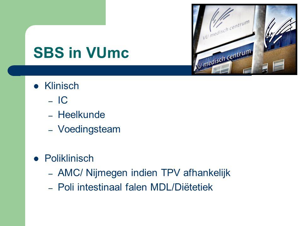 SBS in VUmc Klinisch – IC – Heelkunde – Voedingsteam Poliklinisch – AMC/ Nijmegen indien TPV afhankelijk – Poli intestinaal falen MDL/Diëtetiek