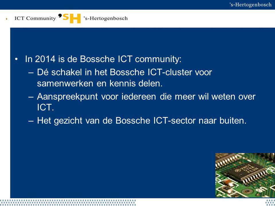 Beoogd resultaat In 2014 is de Bossche ICT community: –Dé schakel in het Bossche ICT-cluster voor samenwerken en kennis delen. –Aanspreekpunt voor ied
