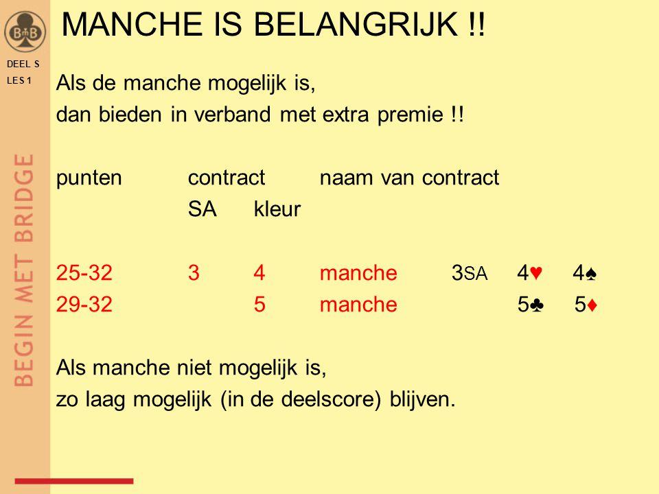 DEEL S LES 1 MANCHE IS BELANGRIJK !! Als de manche mogelijk is, dan bieden in verband met extra premie !! puntencontractnaam van contract SAkleur 25-3