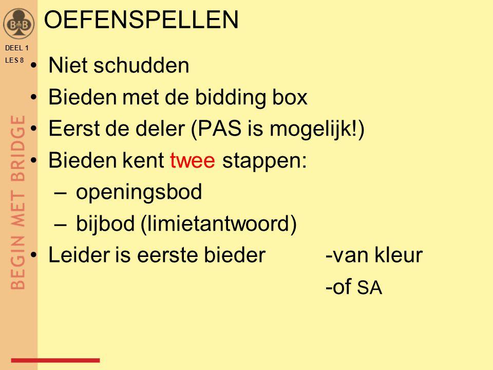 OEFENSPELLEN Niet schudden Bieden met de bidding box Eerst de deler (PAS is mogelijk!) Bieden kent twee stappen: – openingsbod – bijbod (limietantwoor