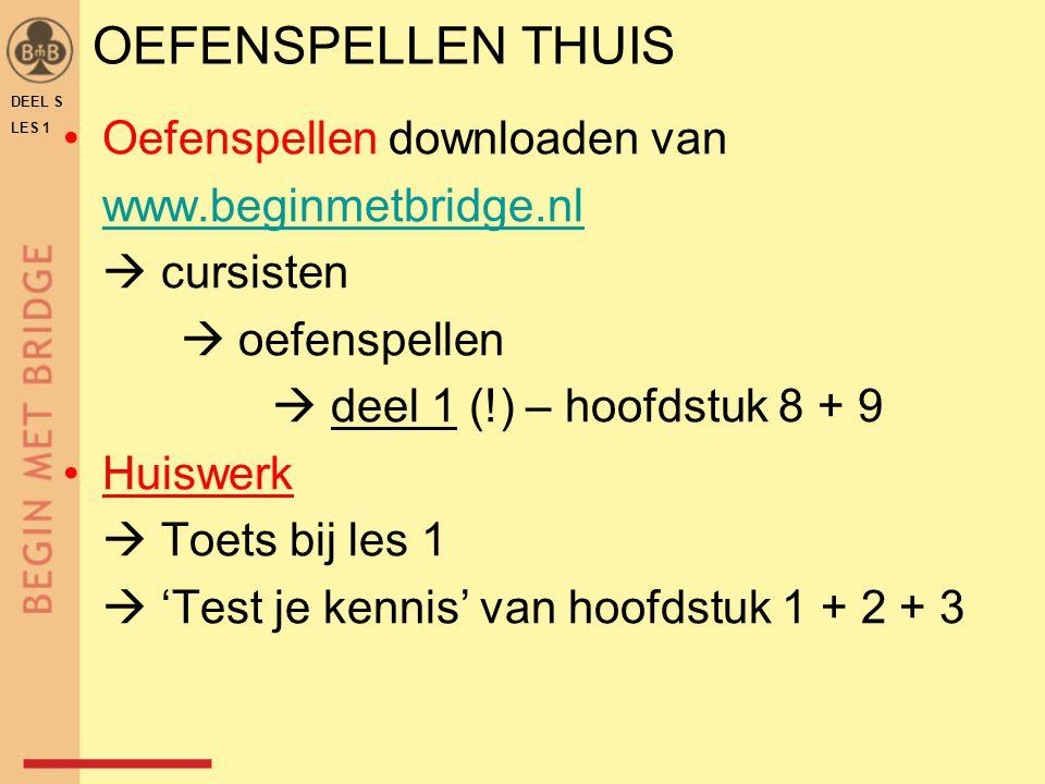 OEFENSPELLEN THUIS Oefenspellen downloaden van www.beginmetbridge.nl  cursisten  oefenspellen  deel 1 (!) – hoofdstuk 8 + 9 Huiswerk  Toets bij le