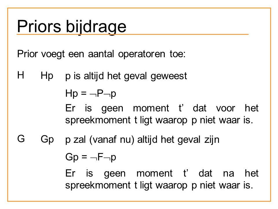 Priors bijdrage Prior voegt een aantal operatoren toe: H Hp p is altijd het geval geweest Hp =  P  p Er is geen moment t' dat voor het spreekmoment