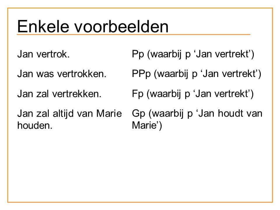 Enkele voorbeelden Jan vertrok. Pp (waarbij p 'Jan vertrekt') Jan was vertrokken. PPp (waarbij p 'Jan vertrekt') Jan zal vertrekken. Fp (waarbij p 'Ja