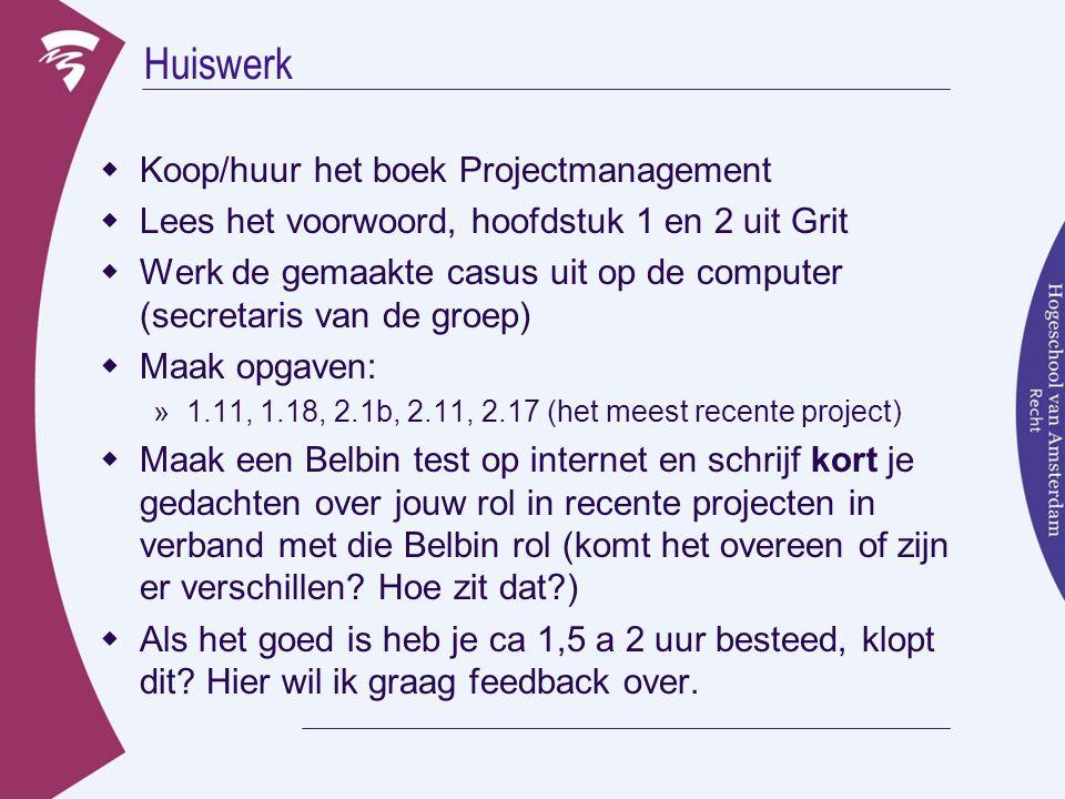 Huiswerk  Koop/huur het boek Projectmanagement  Lees het voorwoord, hoofdstuk 1 en 2 uit Grit  Werk de gemaakte casus uit op de computer (secretari