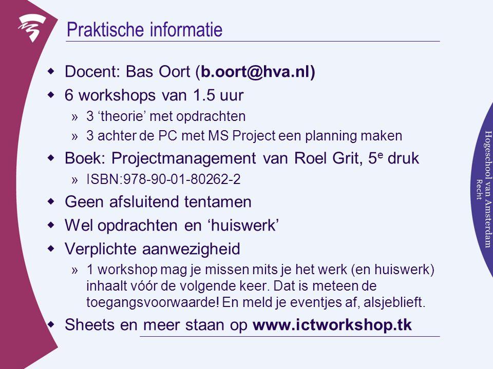 Praktische informatie  Docent: Bas Oort (b.oort@hva.nl)  6 workshops van 1.5 uur »3 'theorie' met opdrachten »3 achter de PC met MS Project een plan