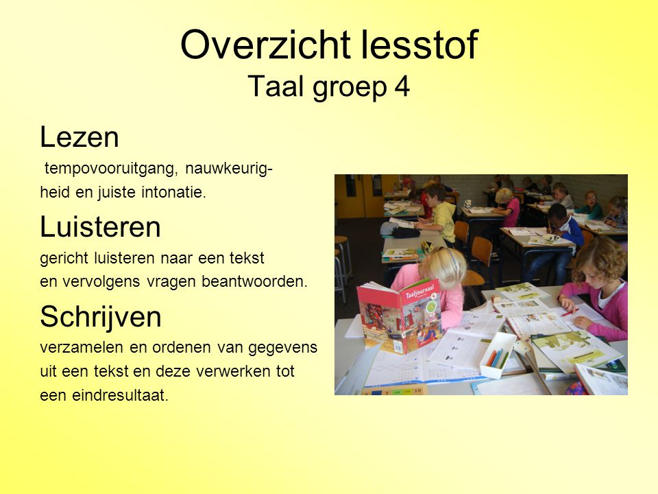 Overzicht lesstof Taal groep 4 pag.