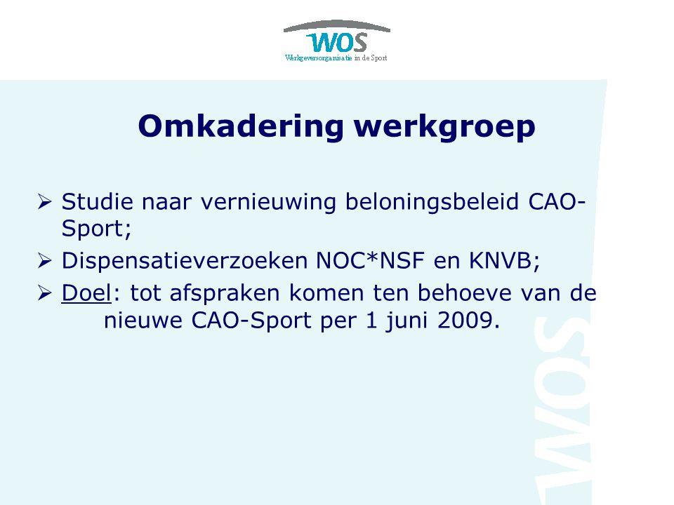 Omkadering werkgroep  Studie naar vernieuwing beloningsbeleid CAO- Sport;  Dispensatieverzoeken NOC*NSF en KNVB;  Doel: tot afspraken komen ten beh