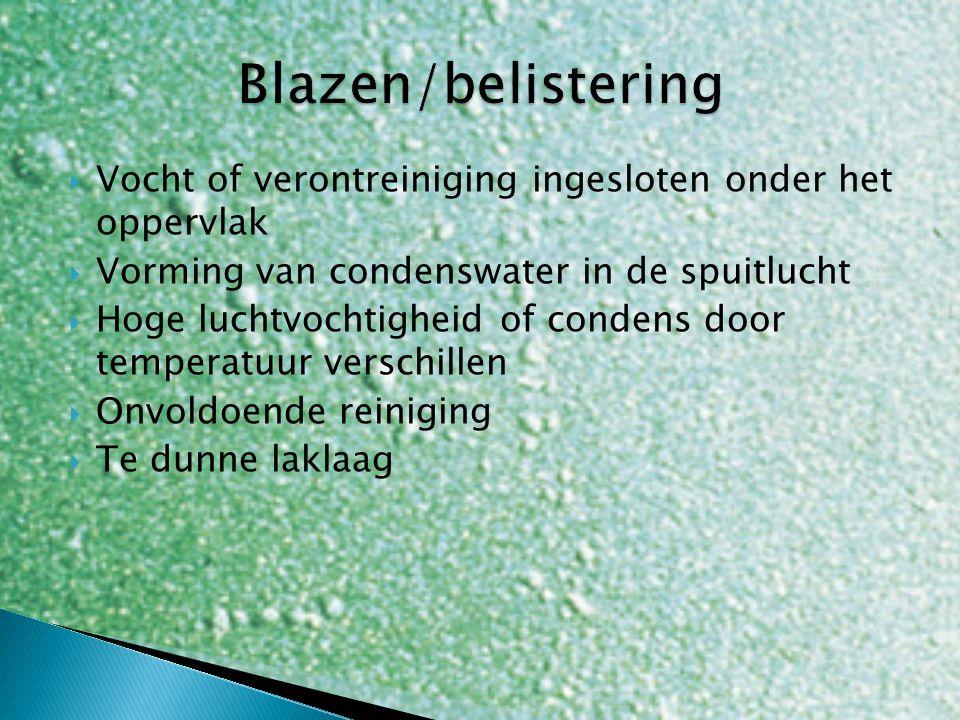  Vocht of verontreiniging ingesloten onder het oppervlak  Vorming van condenswater in de spuitlucht  Hoge luchtvochtigheid of condens door temperat
