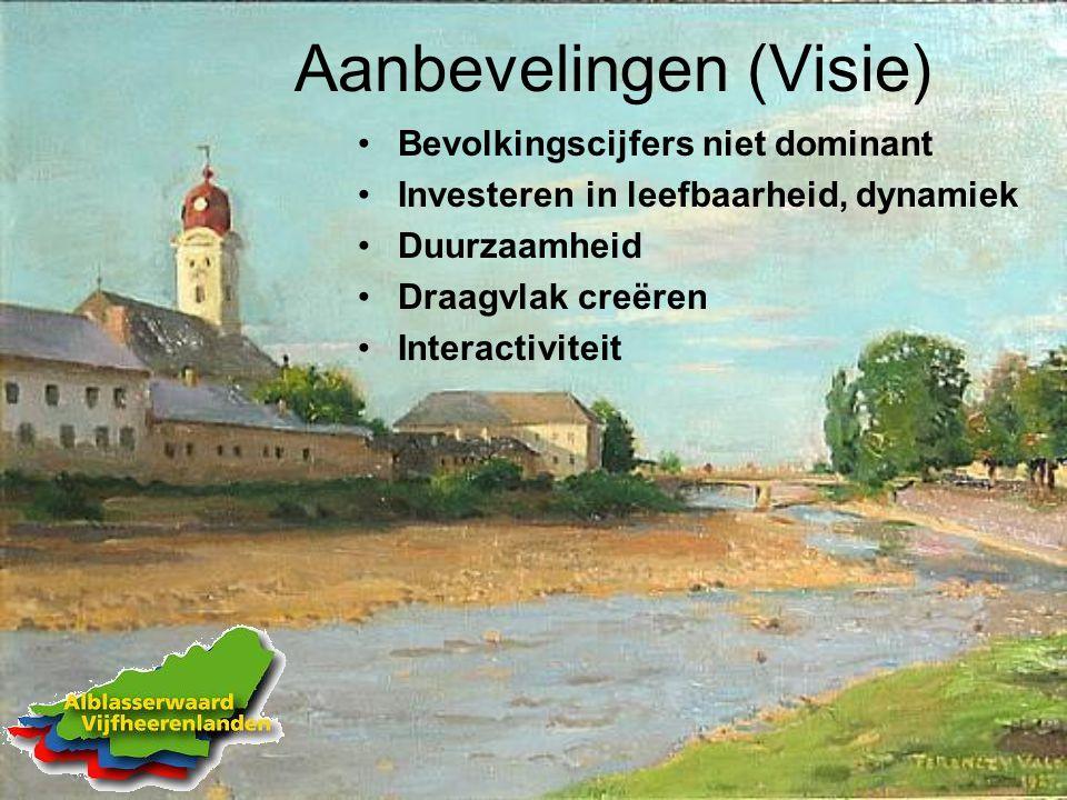 Aanbevelingen (Visie) Bevolkingscijfers niet dominant Investeren in leefbaarheid, dynamiek Duurzaamheid Draagvlak creëren Interactiviteit