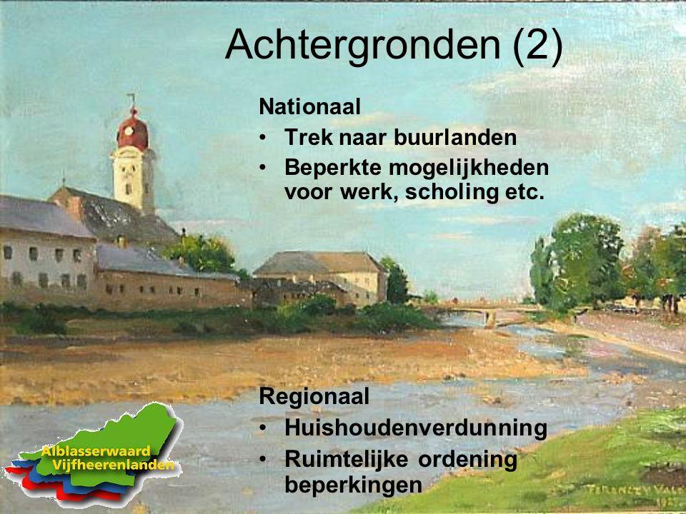 Achtergronden (2) Nationaal Trek naar buurlanden Beperkte mogelijkheden voor werk, scholing etc.